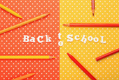 Scholar material to back to school in colored background Royalty Free Stock Photography