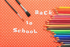 Scholar material to back to school in colored background Royalty Free Stock Images
