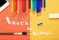 Scholar material to back to school in colored background Royalty Free Stock Image