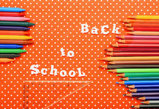 Scholar material to back to school in colored background Royalty Free Stock Photo