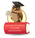 Scholar owl. Illustration of the cheerful scholar owl wear graduation hat on top of red book Royalty Free Stock Images