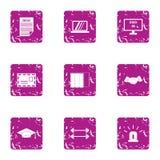 Scholarly icons set, grunge style. Scholarly icons set. Grunge set of 9 scholarly vector icons for web isolated on white background Stock Image