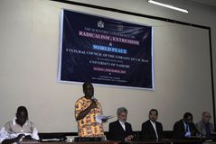 Scholarly  paper presentation in Naiorbi. Presentation by lecturer in an Islamic  conference in Nairobi Kenya on terrorism Stock Photos