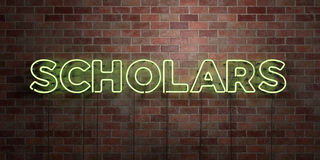 SCHOLARS - fluorescent Neon tube Sign on brickwork - Front view - 3D rendered royalty free stock picture Stock Photos