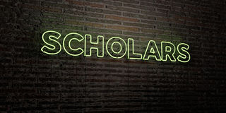 SCHOLARS -Realistic Neon Sign on Brick Wall background - 3D rendered royalty free stock image Stock Photos
