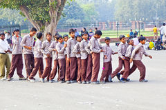 Scholars in uniform visit the Red Fort Royalty Free Stock Photography