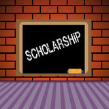 Scholarship. Abstract colorful background with a blackboard hanging on a brick wall and the text scholarship written on the blackboard Royalty Free Stock Photo