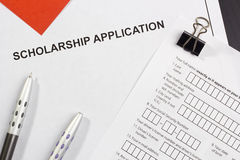 Scholarship Application. Directly above photograph of a scholarship application royalty free stock image