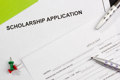 Scholarship Application. Directly above photograph of a scholarship application royalty free stock photography