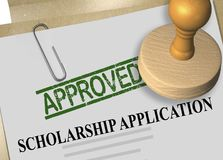 SCHOLARSHIP APPLICATION concept. 3D illustration of APPROVED stamp title on scholarship application document Stock Photos