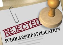 SCHOLARSHIP APPLICATION concept. 3D illustration of REJECTED stamp title on scholarship application document Stock Image