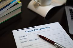 Scholarship application form royalty free stock photo