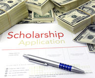 Scholarship application form and money. Scholarship application form and dollar bills
