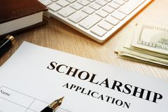 Scholarship application for student. Money for education. Scholarship application for student. Money for education concept stock photo