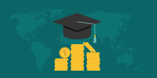 Scholarship college with cap and money coin Stock Image