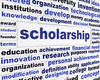 Scholarship conceptual message design. Students financial help creative poster Royalty Free Stock Photos