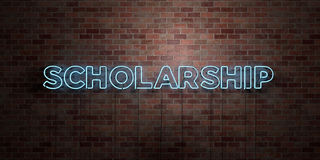 SCHOLARSHIP - fluorescent Neon tube Sign on brickwork - Front view - 3D rendered royalty free stock picture Royalty Free Stock Image