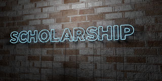 SCHOLARSHIP - Glowing Neon Sign on stonework wall - 3D rendered royalty free stock illustration Stock Images