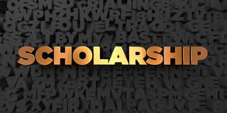 Scholarship - Gold text on black background - 3D rendered royalty free stock picture Stock Photos