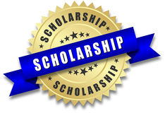 Scholarship golden badge Stock Images