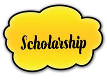 SCHOLARSHIP handwritten on yellow cloud with white background. Illustration Royalty Free Stock Photography