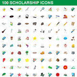 100 scholarship icons set, cartoon style. 100 scholarship icons set in cartoon style for any design vector illustration Vector Illustration