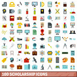 100 scholarship icons set, flat style. 100 scholarship icons set in flat style for any design vector illustration Royalty Free Stock Photography