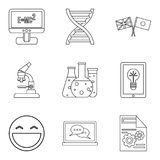 Scholarship icons set, outline style. Scholarship icons set. Outline set of 9 scholarship vector icons for web isolated on white background Royalty Free Stock Photos