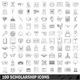 100 scholarship icons set, outline style. 100 scholarship icons set in outline style for any design vector illustration Stock Illustration