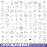 100 scholarship icons set, outline style Royalty Free Stock Photos