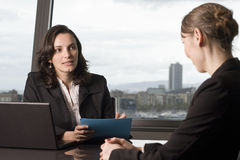 Scholarship interview. Woman making decision about grant for students stock images