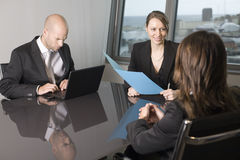 Scholarship interview. Woman making decision about grant for students royalty free stock images