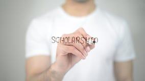 Scholarship, man writing on transparent screen royalty free stock photos