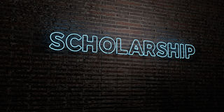SCHOLARSHIP -Realistic Neon Sign on Brick Wall background - 3D rendered royalty free stock image Stock Photos