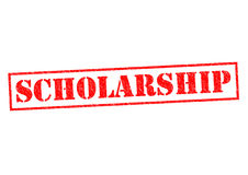 SCHOLARSHIP. Red Rubber Stamp over a white background stock photos