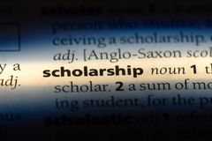 Scholarship. Word in a dictionary.  concept stock image