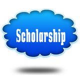 SCHOLARSHIP text message on hovering blue cloud. Illustration Royalty Free Stock Photos