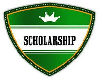 SCHOLARSHIP written on green shield with crown. Illustration Stock Photography