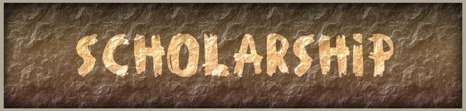 SCHOLARSHIP written with paint on rock panel background Royalty Free Stock Images