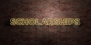 SCHOLARSHIPS - fluorescent Neon tube Sign on brickwork - Front view - 3D rendered royalty free stock picture Royalty Free Stock Photography
