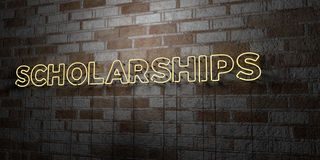 SCHOLARSHIPS - Glowing Neon Sign on stonework wall - 3D rendered royalty free stock illustration. Can be used for online banner ads and direct mailers Stock Photography