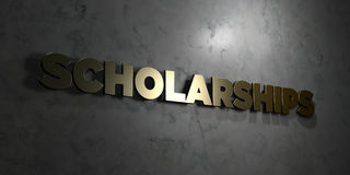 Scholarships - Gold text on black background - 3D rendered royalty free stock picture. This image can be used for an online website banner ad or a print Royalty Free Stock Photography