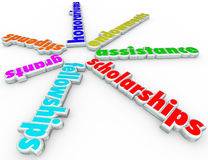 Scholarships Grants Financial Aid Support College Help Assistanc. Scholarships and related words for financial aid and support, including stipends, grants Royalty Free Stock Photography