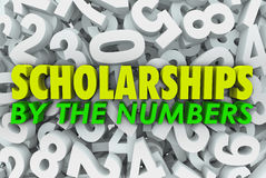Scholarships By the Numbers Words College Financial Aid Merit Aw. Many 3d numbers in dissarray spread out to represent chaos or learning mathematics or Stock Image
