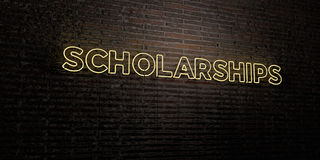 SCHOLARSHIPS -Realistic Neon Sign on Brick Wall background - 3D rendered royalty free stock image. Can be used for online banner ads and direct mailers Stock Photography