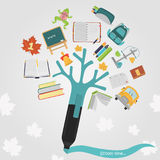 Scholl color flat icons set with marker stylized tree for web and mobile design Stock Photography