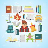 Scholl color flat icons for web and mobile design Royalty Free Stock Photo