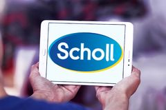 Scholl footcare solutions company logo. Logo of Scholl footcare on samsung tablet  . Scholl provides an ever growing range of footcare solutions Royalty Free Stock Photos