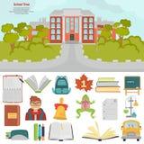 Scholl koloru płaskie ikony ustawiać Szkoła z nim ` s terytorium koloru ilustracja Zdjęcia Royalty Free