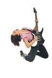 Schommel meisje met gitaar het zingen royalty-vrije stock afbeelding